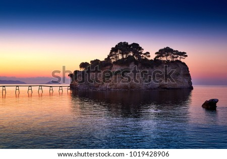 Zakynthos island, Greece. Incredibly romantic sunset on Cameo. Cameo island in the morning light. Amazing sunrise view. Island lovers #1019428906
