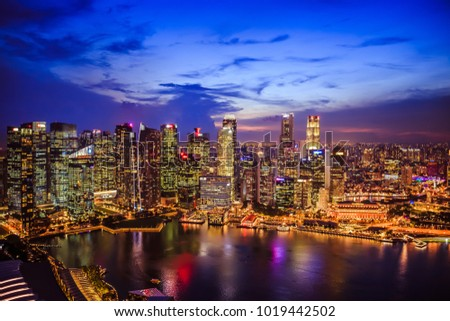 Singapore - February 2 2018: Aerial view of Singapore business district and city at night #1019442502