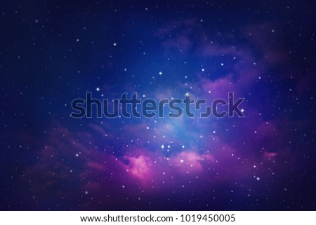 Space of night sky with cloud and stars. #1019450005