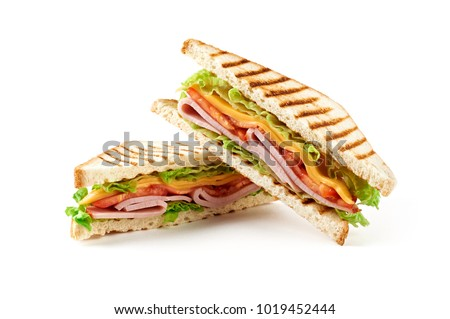 Sandwich with ham, cheese, tomatoes, lettuce, and toasted bread. Above view isolated on white background. #1019452444