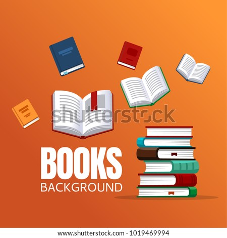 Books background concept for banners, posters, flyers and so on. Vector illustration in flat style.