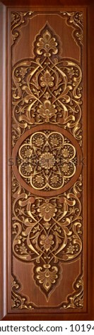 Beautiful patterns, wooden carved on the door.Oriental craft. #1019485342