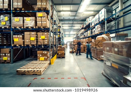 warehouse interior with shelves, pallets and boxes #1019498926