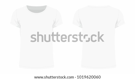 Front and back views of men's white t-shirt on white background #1019620060