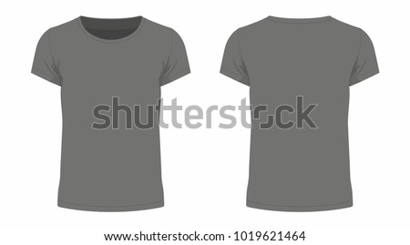 Front and back views of men's black t-shirt on white background #1019621464