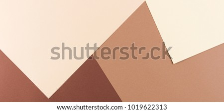 Color papers geometry composition banner background with pink, beige and brown tones. #1019622313