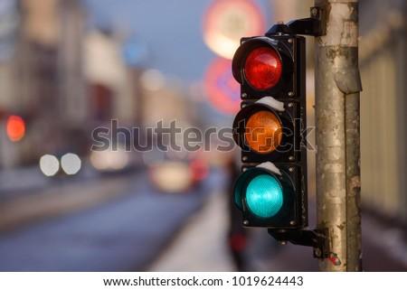 Tram traffic light showing green. #1019624443