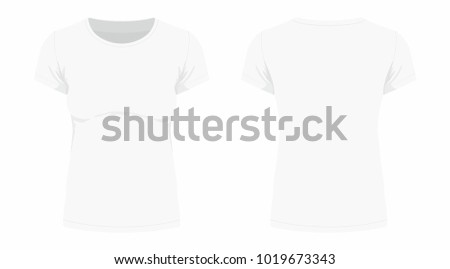 Front and back views of women's white t-shirt on white background #1019673343