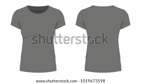 Front and back views of women's black t-shirt on white background #1019673598