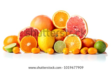 Isolated citrus fruits. Pieces of lemon, lime , tangerine , pink grapefruit and orange isolated on white background. #1019677909