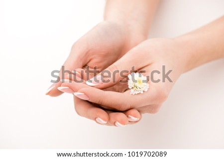partial view of girl with natural manicure holding daisy, isolated on white #1019702089