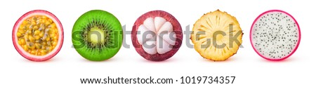Isolated tropical fruits slices. Fresh exotic fruits cut in half (maracuya, kiwi, mangosteen, pineapple, dragonfruit) in a row isolated on white background with clipping path Royalty-Free Stock Photo #1019734357