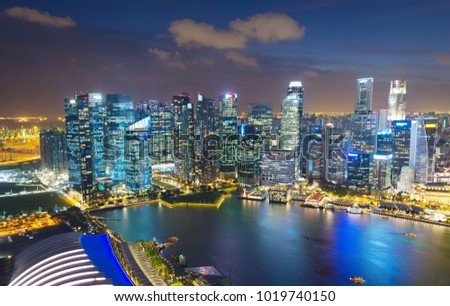Skyline of Singapore Downtown at night. Aerial view #1019740150