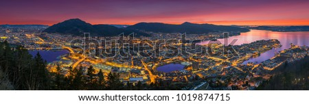 A wonderful panoramic view of Bergen from Floyen, Bergen, Norway at sunset. #1019874715
