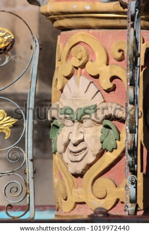 historical fountain details ornaments and objects in schwaebisch gmuend south germany city on a sunny summer day #1019972440