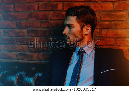 Respectable handsome man in elegant suit sitting in apartments with classical luxurious interior. Men's beauty, fashion. #1020003517