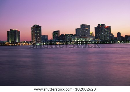 New Orleans skyline at twilight