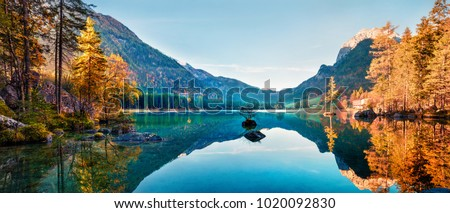 Fantastic autumn panorama on Hintersee lake. Colorful morning view of Bavarian Alps on the Austrian border, Germany, Europe. Beauty of nature concept background. #1020092830