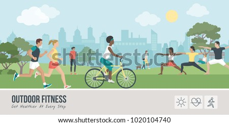 Young people doing physical activity outdoors at the park, they are running, cycling and practicing yoga; healthy lifestyle and fitness concept Royalty-Free Stock Photo #1020104740