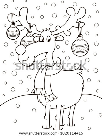 Coloring page outline of cartoon cute christmas deer. Vector illustration, winters coloring book for kids.