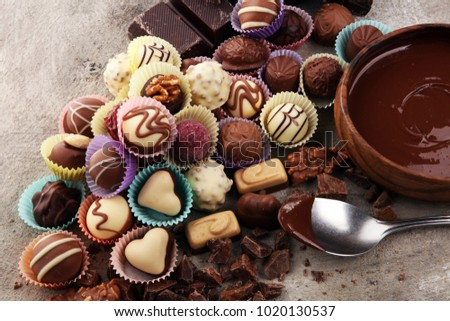 a lot of variety chocolate pralines, belgian confectionery gourmet chocolate Royalty-Free Stock Photo #1020130537