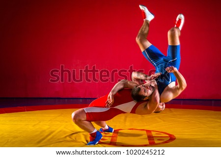Two young men in blue and red wrestling tights are wrestlng and making a suplex wrestling on a yellow wrestling carpet in the gym, wrestlers doing grapple.