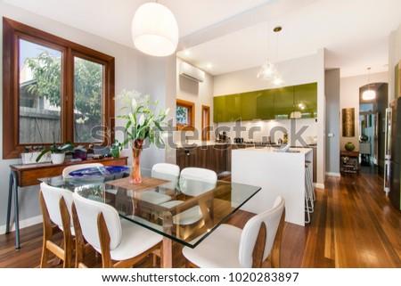 Modern gourmet kitchen interior #1020283897