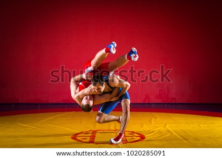 Two young men in blue and red wrestling tights are wrestlng and making a suplex wrestling on a yellow wrestling carpet in the gym