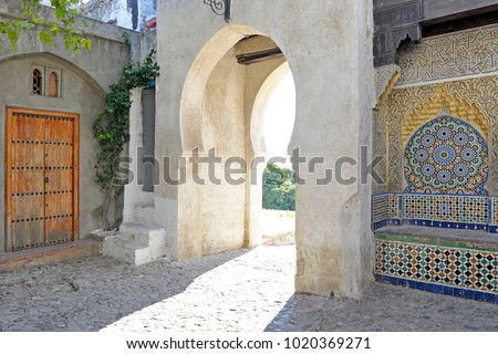 Africa - Morocco - Tanger medina - Arabic mosaic and arab door - travel and touristic place to visit ,  Unesco #1020369271