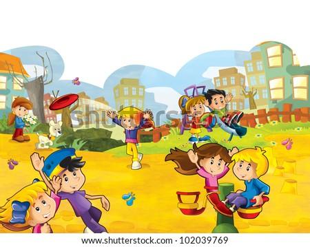 Cartoon playground with kids having fun - illustration for children