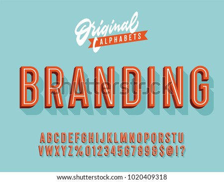 """Branding"" Vintage 3d Premium Alphabet. Old School Poster Typography Inspired Inline Retro Typeace. Vector Illustration."