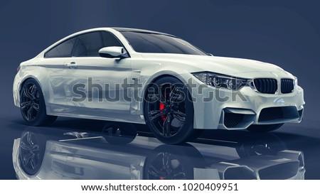 White premium BMW car. Three-dimensional illustration on a dark blue background. 3d rendering. #1020409951