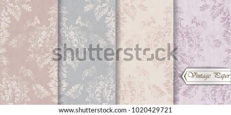 Baroque pattern trendy color texture set Vector. Royal fabric decor illustrations