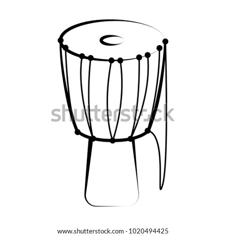 Isolated djembe outline. Musical instrument