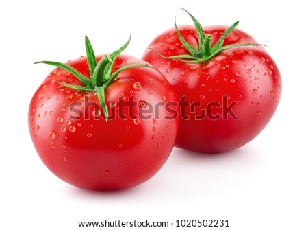 Tomatoes isolated on white. Tomato with drops. Full depth of field. Royalty-Free Stock Photo #1020502231