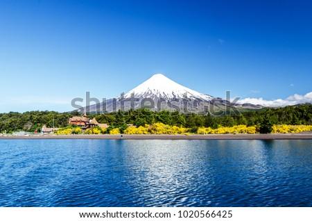 Osorno volcano and Llanquihue Lake, Parque Nacional Vicente Pérez Rosales, Lake District, Puerto Varas, Chile. #1020566425