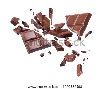 Chocolate broken into pieces in the air on a white background #1020582568