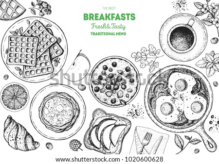Breakfast top view frame. Morning food menu design. Breakfast dishes collection. Vintage hand drawn sketch, vector illustration. Engraved style.
