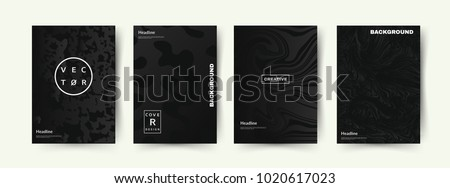Elegant Black color covers set. Abstract shapes with gradients. Trendy design. Eps10 vector.
