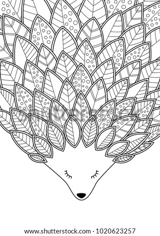 Doodle coloring anti stress book page cute sleeping hedgehog with leaves.  For adults and children