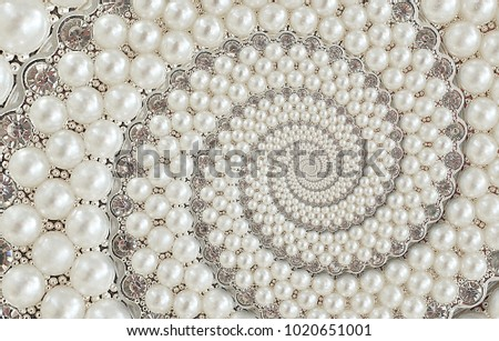 Pearls and diamonds jewels abstract spiral background pattern fractal. Pearls background, repetitive pattern. Abstract pearl background spiral pattern decorative element. Pearl decoration design #1020651001