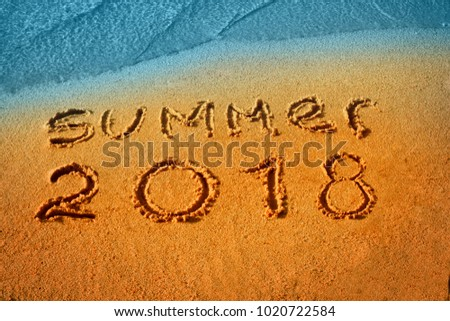 Summer 2018 nand drawn letters on beach sand. Text lettering design card template. Creative typography for Holiday Greeting Gift Poster. Calligraphy font style Banner. #1020722584