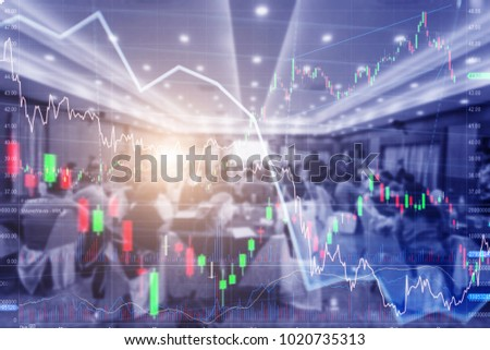 forex. Stock chart. blur people lecture in seminar room. education or training Investment seminar concept. #1020735313