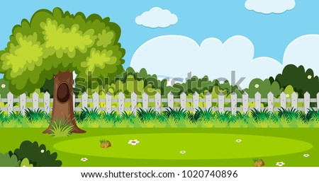 Background scene with tree and white fence in garden illustration