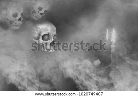 Haunted ghosts in the smoke and candlelight at night