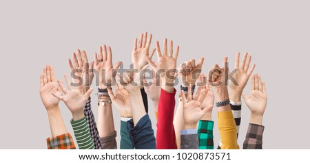 Raised up hands,  palms, fingers,  Royalty-Free Stock Photo #1020873571