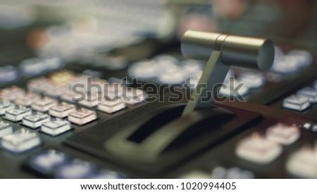 Vision Mixer Desk Hand Gear, TV Broadcast Gallery #1020994405