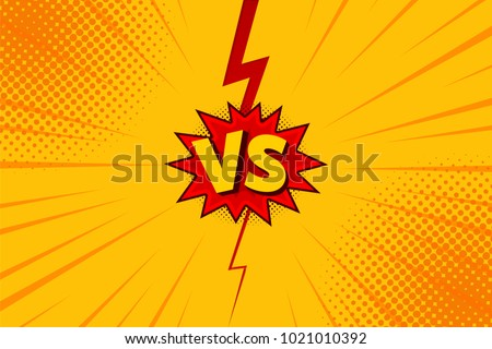 Versus VS letters fight backgrounds in flat comics style design with halftone, lightning. Vector illustration