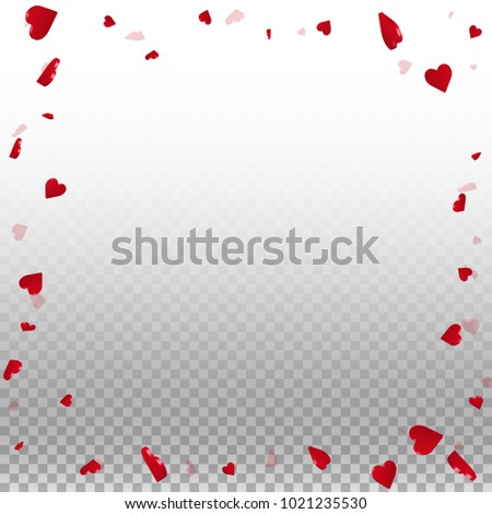 3d hearts. Chaotic border on transparent grid light background. 3d hearts valentine's day exquisite design. Vector illustration. #1021235530