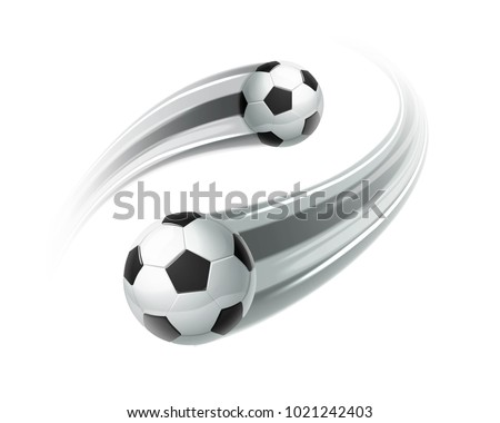 Flying soccer ball with motion blur isolated on background